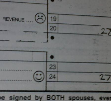 A smiley face on an old WV tax form